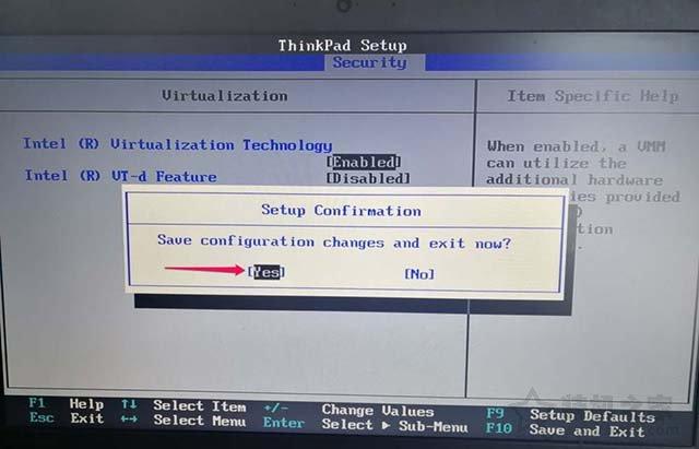ThinkPad笔记本电脑如何开启CPU虚拟化技术的图文教程 电脑基础 第7张