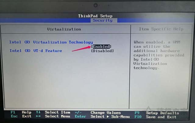 ThinkPad笔记本电脑如何开启CPU虚拟化技术的图文教程 电脑基础 第6张